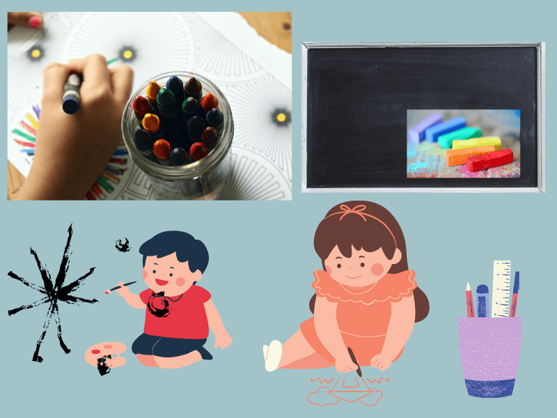 children painting and drawing with crayons, chalk and paint on paper and black board