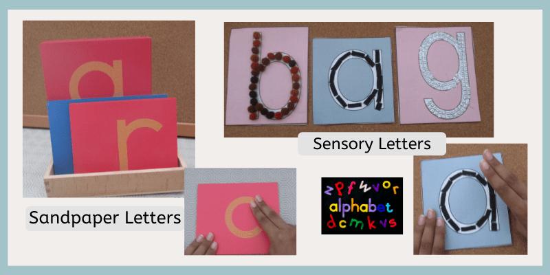 Montessori Sandpaper Letters and DIY sensory letters