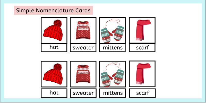 Montessori simple Normenclature cards for winter