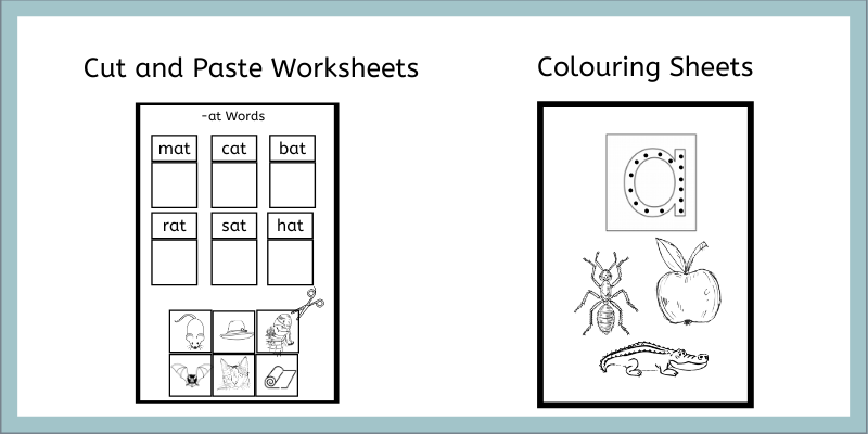 Word Families Worksheets and Beginning Sound Colouring Sheets