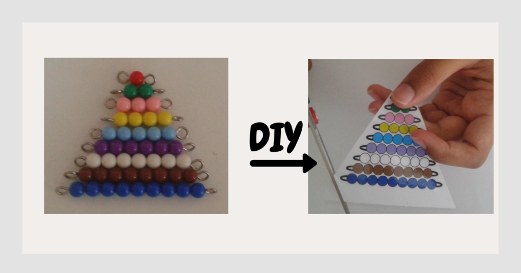 Montessori Short Bead Stair real material and a DIY