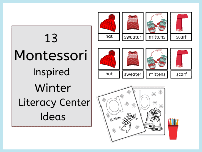 montessori inspired literacy center ideas for winter-winter 3 part cards and winter colluring sheets