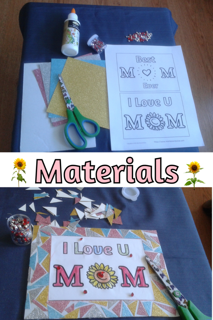 Materials for broken glass frame for Mother's Day
